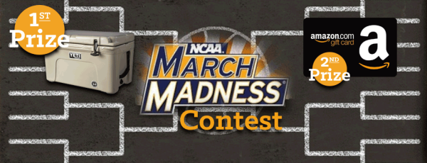 NCAA March Madness Contest First Prize Yeti Cooler Second Prize Amazon Gift Card